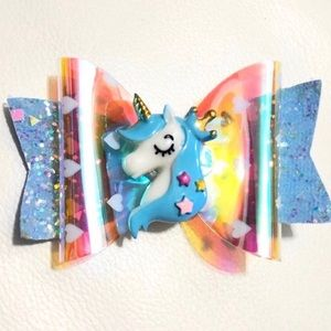 BLUE UNICORN GIRLS HAIR CLIP BOW